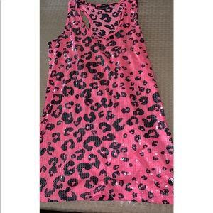 Pink sequin leopard print racer back tank top.